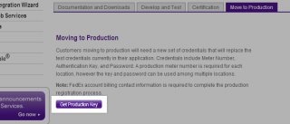 Get Production Key button under the production menu of the FedEx Solution Finder