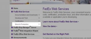 Move to Production button under the Web Services section of the FedEx Solution Finder
