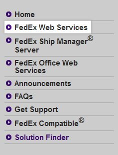 The FedEx Web Services link.