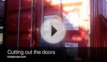 Shipping container house - Cutting out the doors